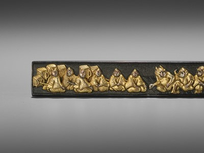 Lot 44 - A GOLD AND SILVER-INLAID GOTO SCHOOL SHAKUDO KOZUKA WITH RAIKO AND HIS MEN IN DISGUISE WITH SHUTEN DOJI AND ATTENDANT OGRES
