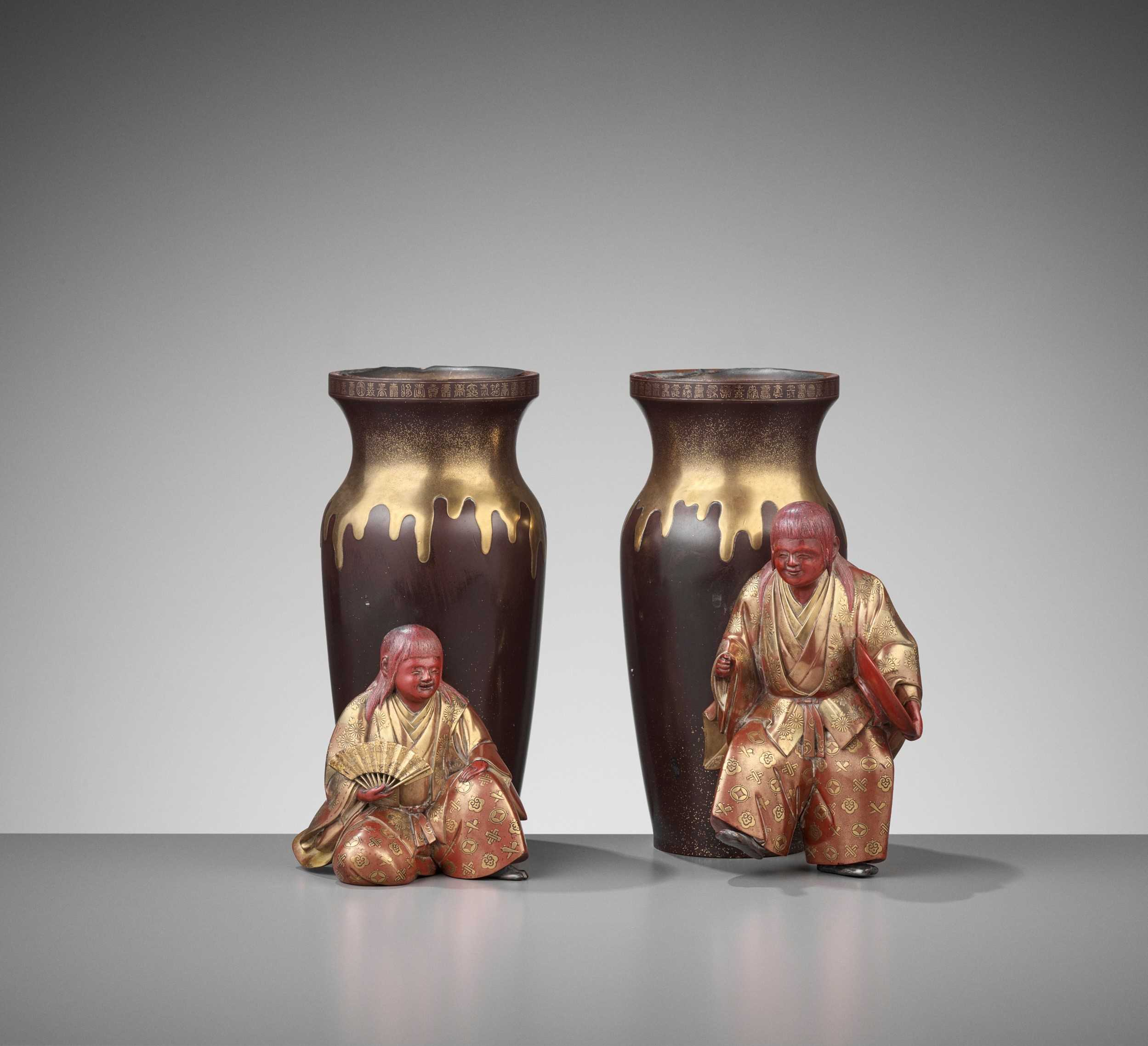 A FINE PAIR OF LACQUER VASES WITH SHOJO AND SAKE JARS