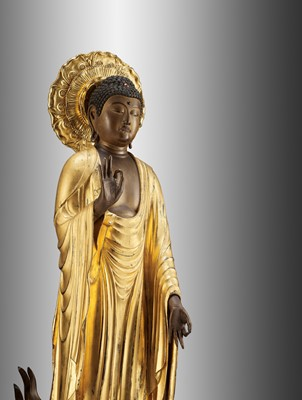 Lot 127 - A MAGNIFICENT AND VERY LARGE FIGURE OF AMIDA, BUDDHA OF INFINITE LIGHT