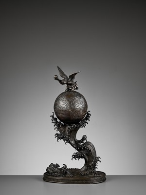 Lot 16 - A 'TENGU AND DRAGON' BRONZE SPHERE, WAFTING ON A MONUMENTAL WAVE