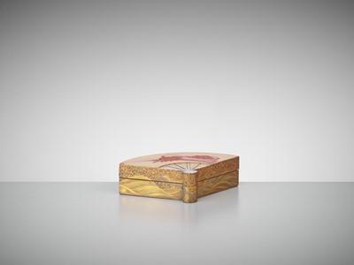 Lot 108 - A SUPERB FAN-SHAPED LACQUER KOGO (INCENSE BOX)