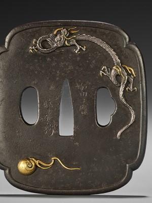 Lot 28 - MASATATSU: A FINE INLAID IRON TSUBA WITH AMARYU DRAGON