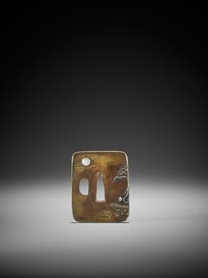Lot 36 - NAGAHARU: A SENTOKU TSUBA DEPICTING GEESE AND MOON