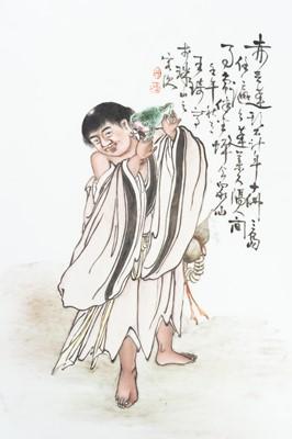 A PORCELAIN PLAQUE OF LIU HAI, AFTER WANG QI, REPUBLIC