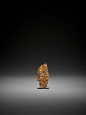SUKENAGA: A FINE WOOD NOH MASK NETSUKE OF ASAKURA-JO