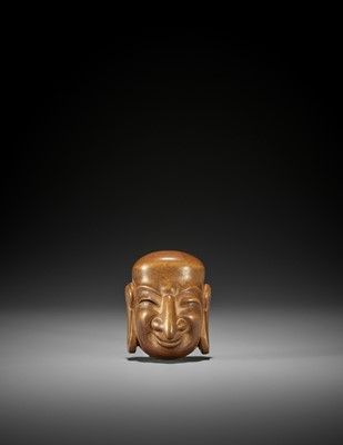 AN IMPRESSIVE PALE WOOD GIGAKU MASK NETSUKE OF SUIKO-JU