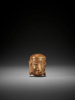 AN IMPRESSIVE PALE WOOD GIGAKU MASK NETSUKE OF SUIKO-JU