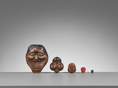 GENMON: AN UNUSUAL AND VERY LARGE WOOD 'SUMO' MASK NETSUKE OF HANNYA