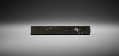 Lot 47 - A SHIBUICHI KOZUKA WITH SHOBU FLOWER AND CRESCENT MOON