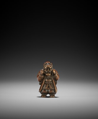 Lot 110 - A CHARMING WOOD NETSUKE OF A BOY WITH HANNYA MASK