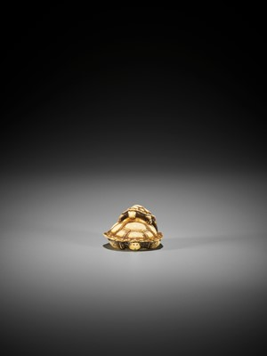 Lot 74 - DORAKU: AN IVORY NETSUKE OF A TORTOISE AND YOUNG