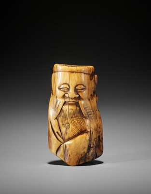 Lot 11 - AN IVORY FRAGMENT OF A CHINESE SAGE RE-PURPOSED AS A NETSUKE