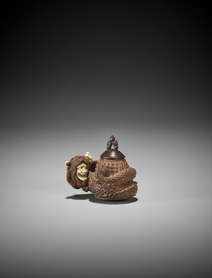 Lot 113 - AN INLAID WOOD NETSUKE OF KIYOHIME, ATTRIBUTED TO MINKO