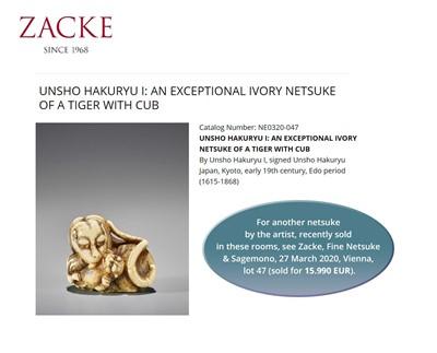 Lot 55 - HAKURYU I: A SUPERB IVORY NETSUKE OF A TIGER AND CUB
