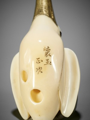 Lot 80 - KAIGYOKUSAI MASATSUGU: A FINE WHALE'S TOOTH NETSUKE OF A DIVING KAWASEMI (KINGFISHER)