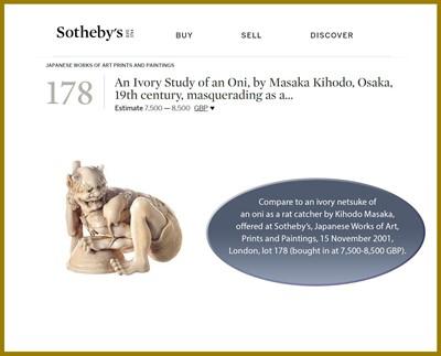 Lot 86 - KIHODO MASAKA: A SUPERB IVORY OKIMONO-NETSUKE OF A RAT CATCHER