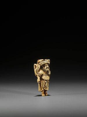 Lot 42 - A POWERFUL KYOTO SCHOOL IVORY NETSUKE OF SHOKI AND ONI
