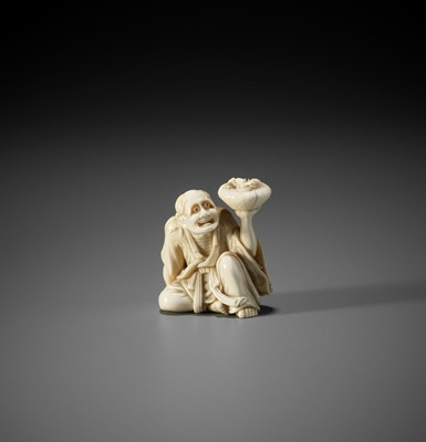Lot 155 - HIDEMITSU: A SUPERB IVORY NETSUKE OF CHINNAN SENNIN