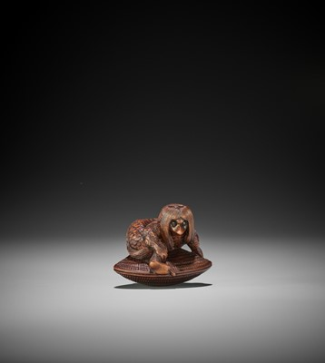 Lot 133 - TSUYAMA: A WOOD NETSUKE OF A KAPPA CAUGHT IN A GIANT HAMAGURI