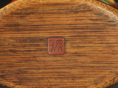 SHOMIN: AN INLAID BAMBOO TONKOTSU DEPICTING AQUATIC LIFE