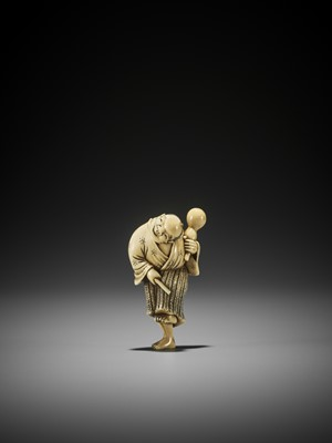 Lot 70 - DORAKU: AN IVORY NETSUKE OF A DANCING DRUNKARD