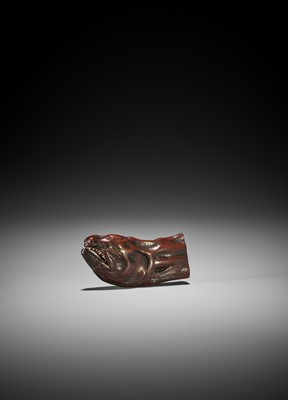 Lot 179 - MIWA I: A WOOD NETSUKE OF A DRIED SALMON HEAD WITH MOVABLE MOUTH