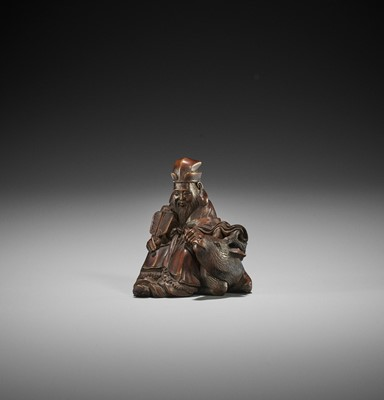 Lot 150 - SHOKO: A FINE WOOD NETSUKE OF JUROJIN WITH DEER