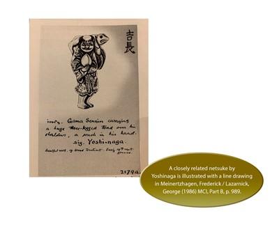 YOSHINAGA: AN IVORY NETSUKE OF GAMA SENNIN WITH A PEACH AND HIS THREE-LEGGED TOAD