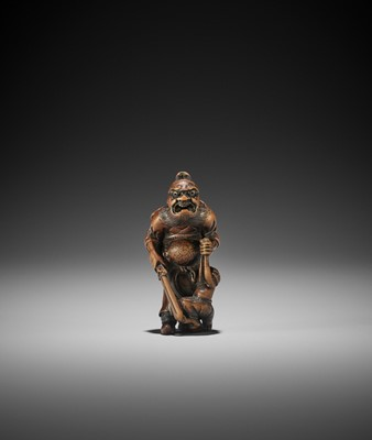 Lot 164 - ISSAI: A WOOD NETSUKE OF SHOKI CAPTURING AN ONI