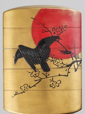 ZESHIN: A LACQUER FOUR-CASE INRO DEPICTING A CROW AGAINST A RED MOON