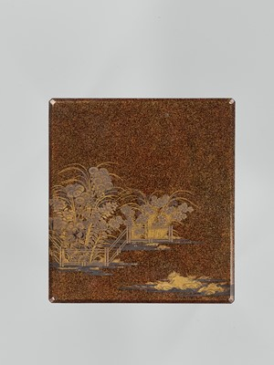Lot 98 - A LACQUER SUZURIBAKO WITH THE SEVEN FLOWERS OF AUTUMN