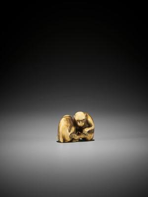OKAKOTO: A SUPERB IVORY NETSUKE OF TWO MONKEYS