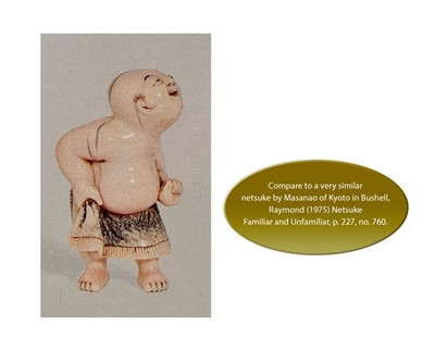 Lot 28 - A RARE AND CHARMING IVORY NETSUKE OF A YOUNG SUMO WRESTLER