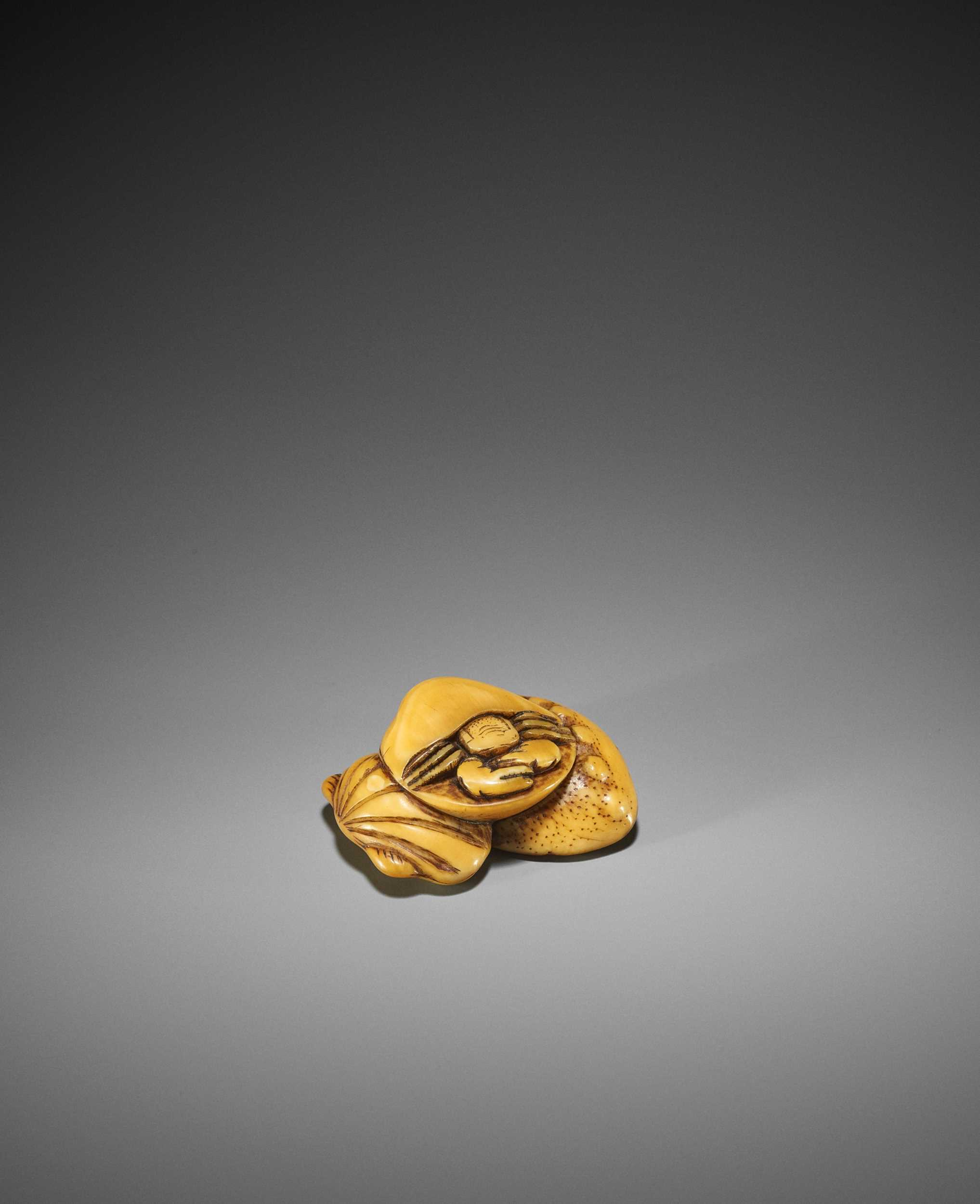 AN EARLY IVORY NETSUKE OF A HERMIT CRAB AND SHELLS