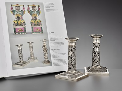 Lot 25 - A PAIR OF RETICULATED SILVER CANDLESTICKS, WANG HING, LATE QING DYNASTY
