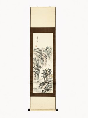 Lot 458 - A HANGING SCROLL PAINTING OF A RIVER LANDSCAPE