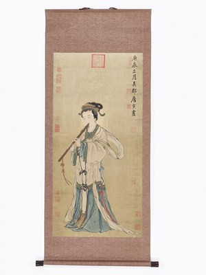 Lot 459 - A HANGING SCROLL PAINTING OF A LADY PLAYING A FLUTE