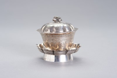 Lot 96 - A SILVER BUTTER TEA SET