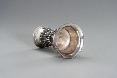 Lot 105 - A TIBEATAN-CHINESE SILVER BUTTER LAMP