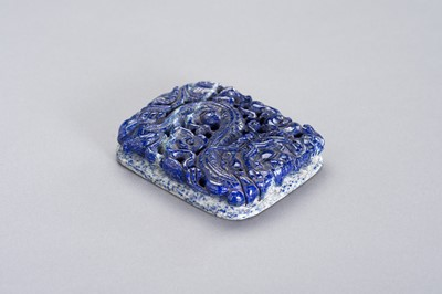"""Lot 200 - A HEAYV AND LARGE LAPIS LAZULI """"DRAGON"""" PLAQUE"""