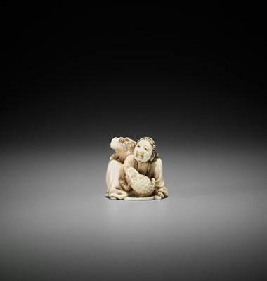 Lot 179 - SANGETSU: A HIPPO TOOTH IVORY NETSUKE OKIMONO OF GAMA SENNIN