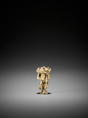 Lot 178 - AN AMUSING IVORY OKIMONO STYLE NETSUKE OF GAMA SENNIN WITH MANY FROGS