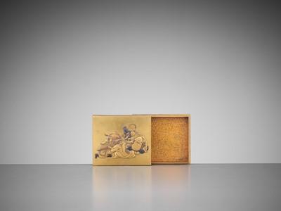 Lot 111 - A RARE GOLD LACQUER KOBAKO WITH SHICHIFUKUJIN