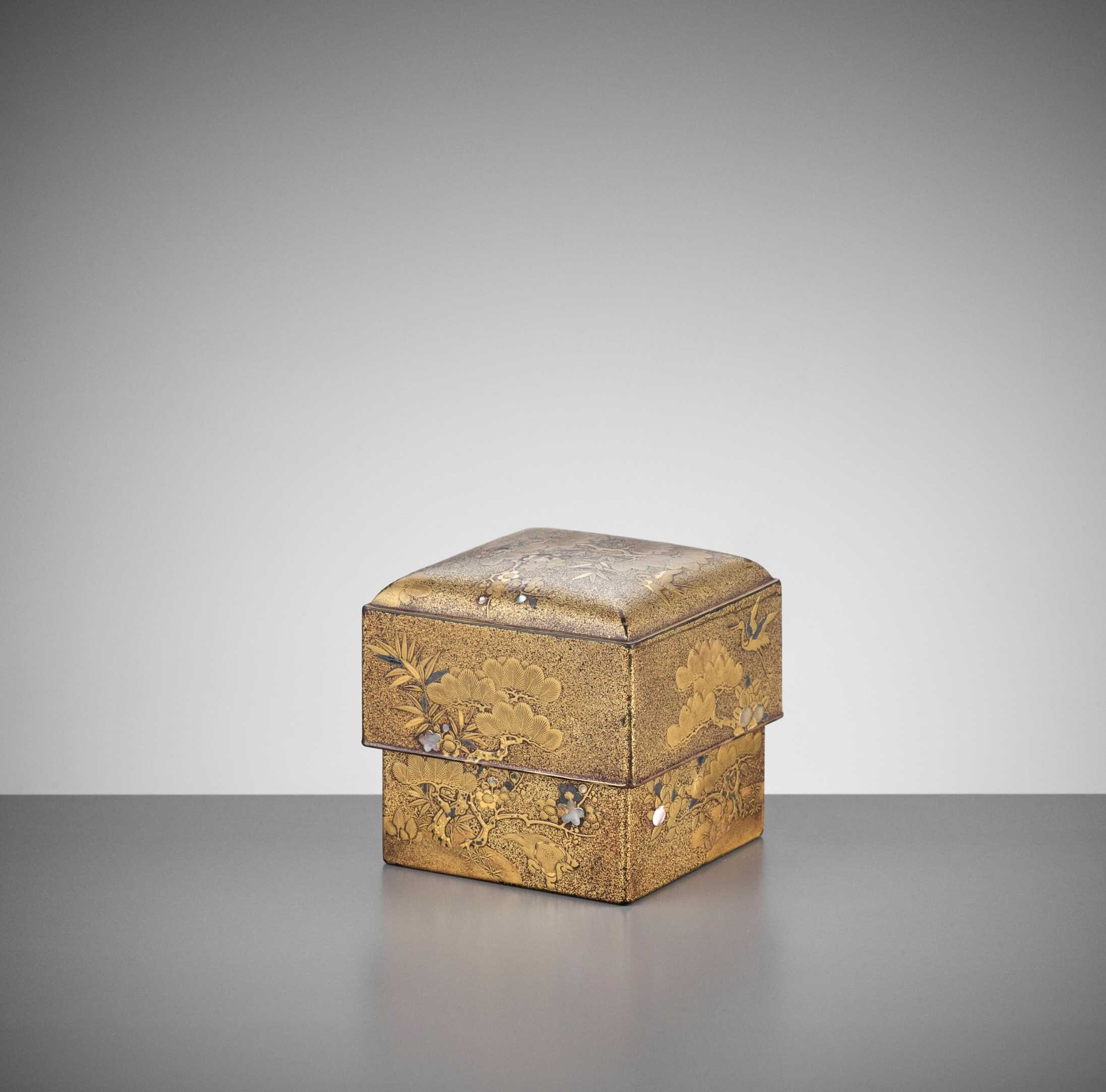 Lot 110 - A RARE LACQUER COSMETIC BOX AND COVER WITH CRANES, MINOGAME AND SHOCHIKUBAI