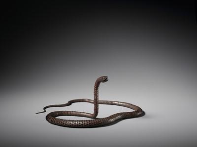 Lot 15 - MYOCHIN MUNEKAZU: A SUPERB IRON ARTICULATED MODEL OF A SNAKE