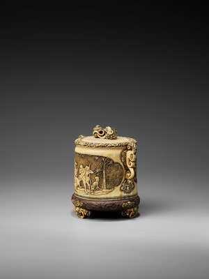 Lot 135 - AN EXCEPTIONAL IVORY TUSK JAR AND COVER