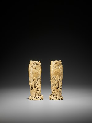 Lot 133 - A PAIR OF SMALL IVORY TUSK VASES WITH CARPS