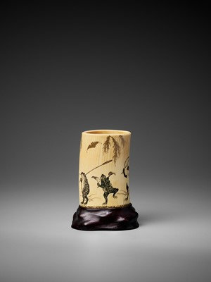 Lot 132 - A LACQUERED AND CARVED IVORY 'FROG PROCESSION' TUSK VASE