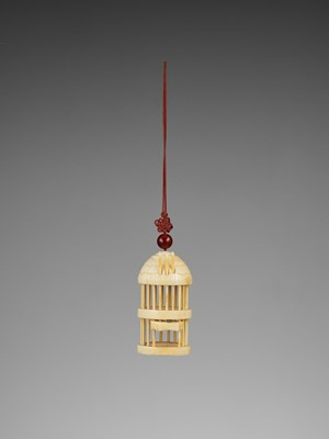 Lot 150 - AN IVORY BIRD CAGE