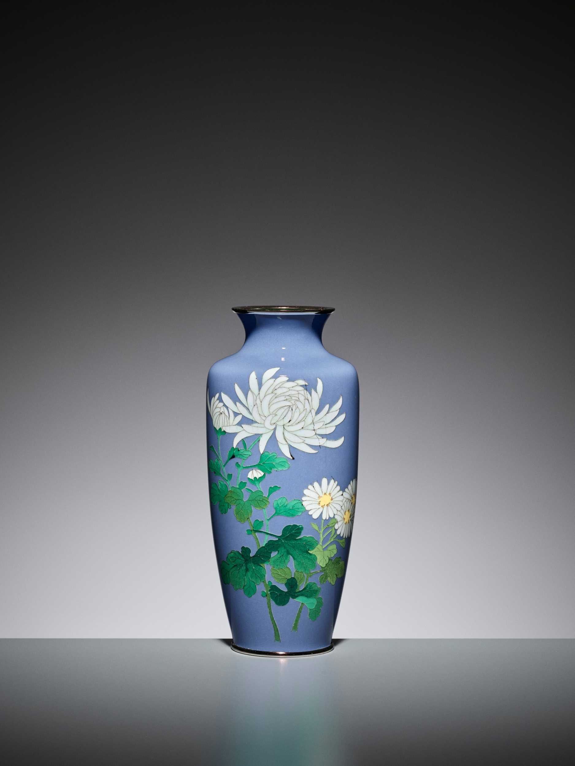 Lot 75 - ANDO: AN UNUSUAL PALE BLUE CLOISONNÉ ENAMEL VASE WITH PEONY AND CHRYSANTHEMUM